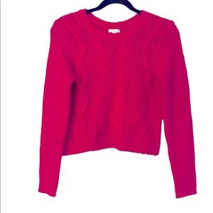 BP Hot Pink Chunky Cable Knit Cropped Wool Blend Fuzzy Sweater, S